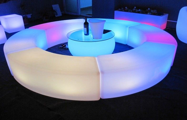 Bar Table And Chairs Led Curved Bench / Coffee Table « Los Angeles Partyworks