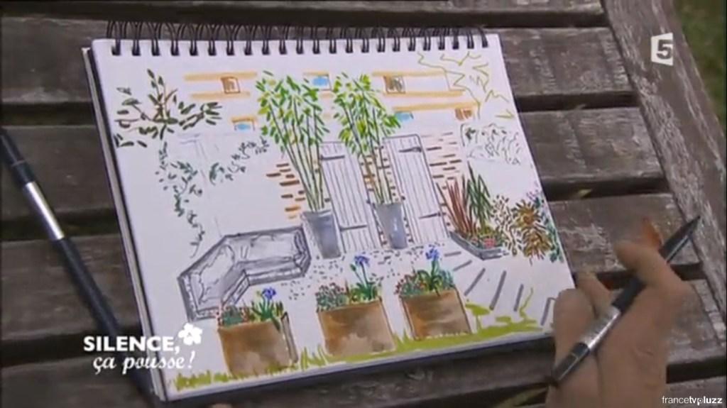 dessin jardin contemporain avec salon