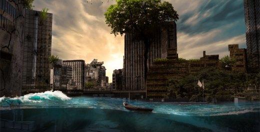 Photoshop スピードアート / 廃墟の街