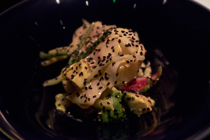 Passagem Gastronômica - Salada de pêra e abacate - Restaurante Sosharu - Londres