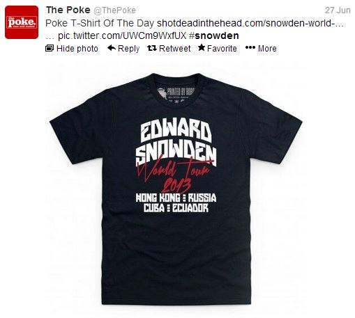 Snowden on Poke T-shirt of the day