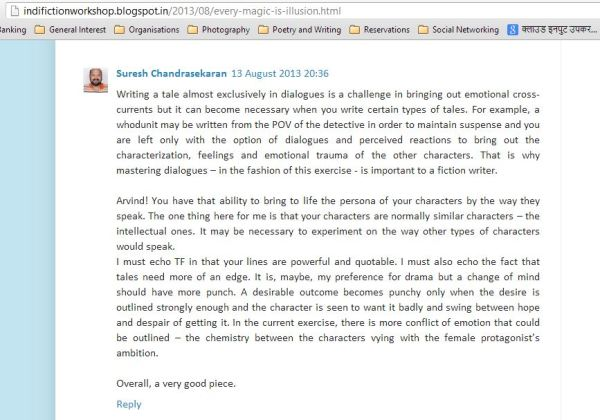 Suresh comments on the story
