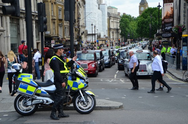 London Cab strike. 11 June 2014. The strike and the long lines of cabs converging on Trafalgar Square...