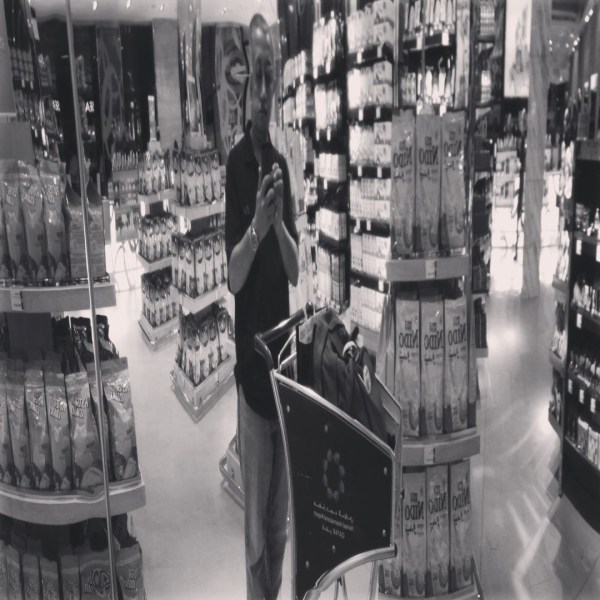 I love my trim self in this reflection inside one of the stores at Hamad