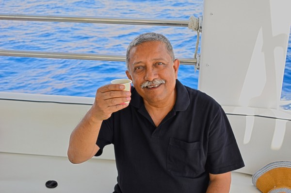 Jordanian tea on a boat in the Red sea is what can bring a smile