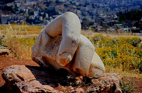 Is this really a part of the hand of Hercules in the temple here in the centre of Amman? No one is sure