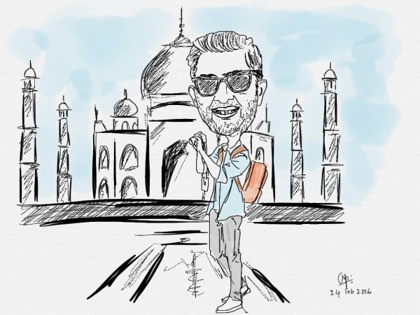 A caricature of my son in Agra... that I drew on my iPad using Tayasui Sketches