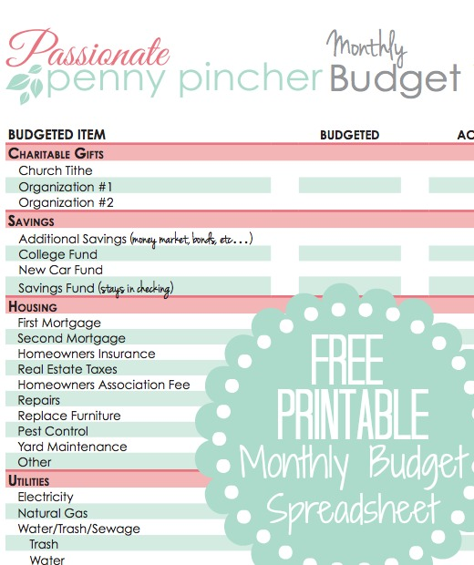 Free Printable Budget Spreadsheet Passionate Penny Pincher - printable budget worksheet