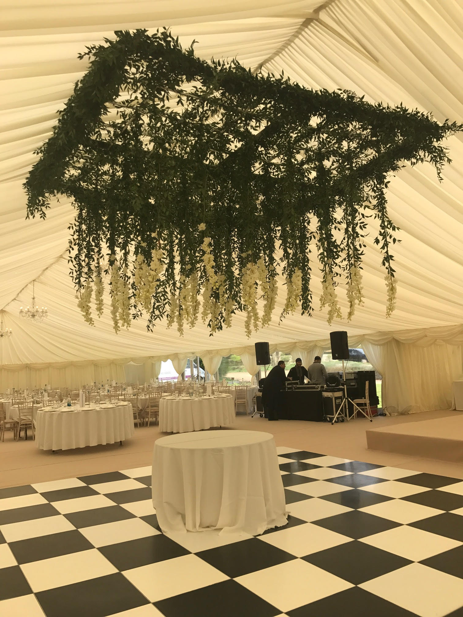 Boutique Vintage Hanging Flower Ceiling Over Marquee Dancefloor – Passion