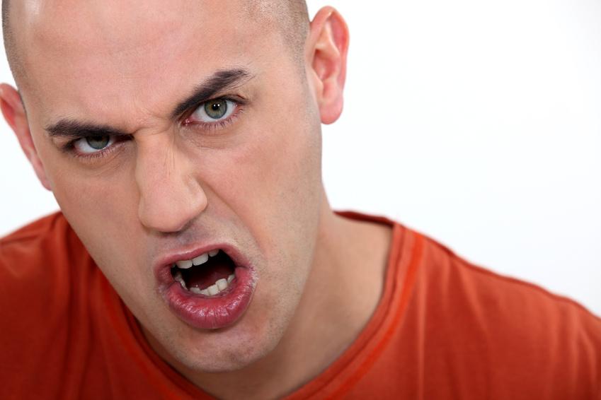 Angry bald man.