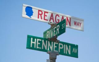APKAJY ILLINOIS Dixon Reagan Way street sign intersection of Hennepin and River streets memory of American president Ronald Reagan