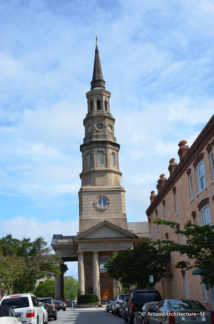 This is the second St. Philip's Church on this site. It  was constructed from 1835 to 1838 by architect Joseph Hyde, while the steeple, designed by E.B. White, was added a decade later.