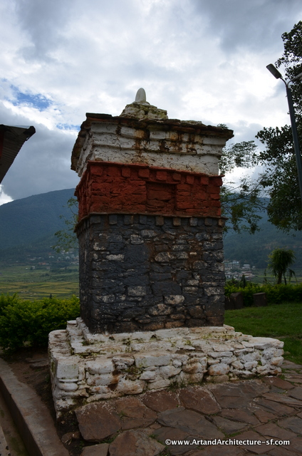 This chorti is painted in a different color pattern that most. It marks where Drukpa Kunley played the mountain demons.