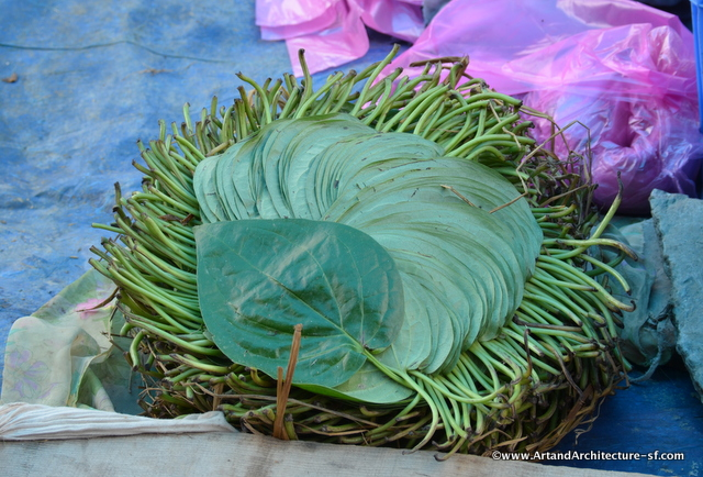 The leaves in which the Betel Nut is wrapped before putting into the mouth and chewing.