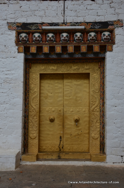 Doors to the hall where Ugyen Wangchuck, later the first king, was knighted by the Indian Empire in 1905.