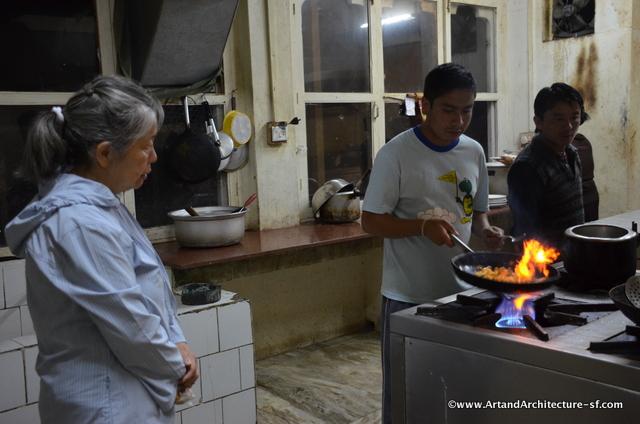 cooking mushrooms in Bhutan