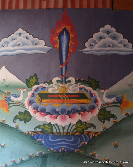The sword sitting on the lotus is commonly found in art work in Bhutan
