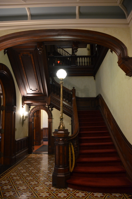 The wood stairwell