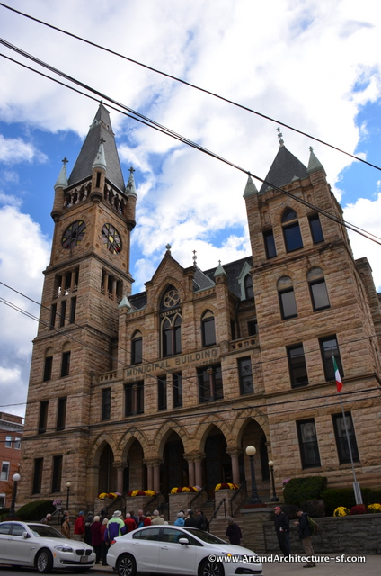 Scranton Municipal Building (1888) (340 N. Washington Ave. at Mulberry St.). Scranton, PA. Style: Victorian Gothic. Architect: Edward L. Walter. On National Register.