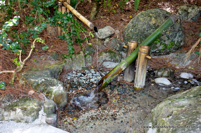 A Shishi Odoshi, which means Deer Chaser. The bank of the bamboo against stone, was meant for just this purpose