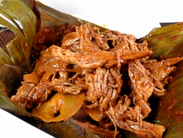 Chochinita pibil in banana leaf
