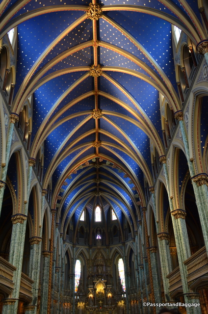 The magnificent ceiling of the Notre Dame Cathedral