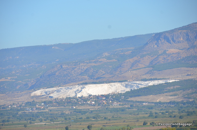 Pamukkale as seen from several miles away at the Archeological site Laodicea