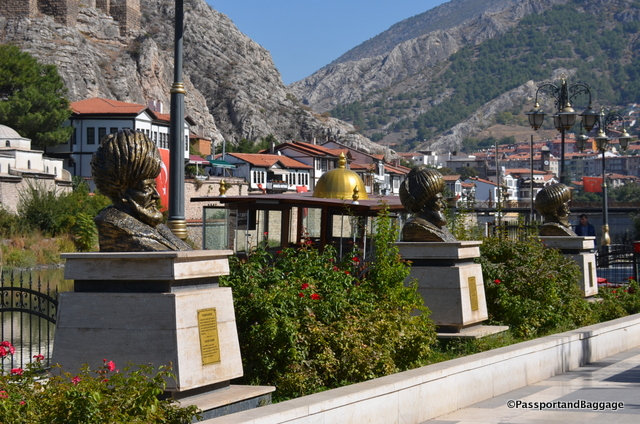 Statues of important Ottomans line the river walk