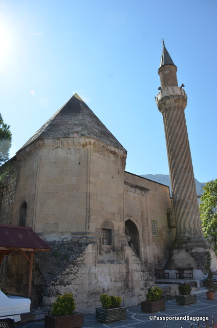 "The Burmali Minare Mosque (""Burmali Minare"" means Spiral Minaret in Turkish) was built between 1237 and 1247 by the Seljuks."