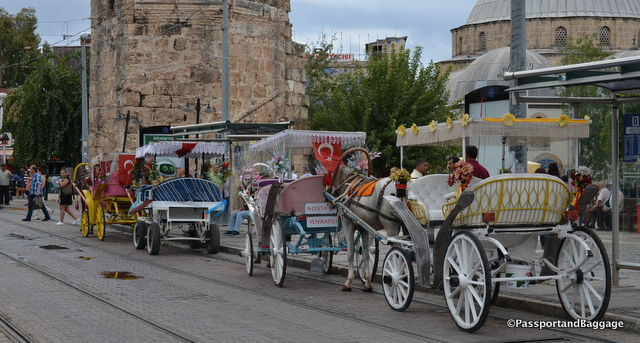 Horse carriages, decorated rather garishly, can be ridden around the newer parts of Antalya