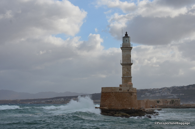 The waves batter the lighthouse of Chania