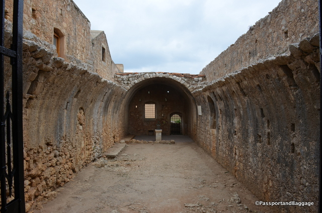 "Originally a wine cellar, this became the ammunition room and the site of the explosion of the ""Arkadi Tragedy"""