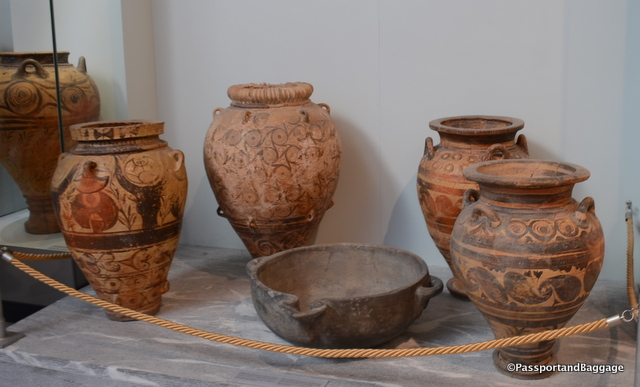 These beautifully painted pithoi are in the Iraklia Archeology Museum