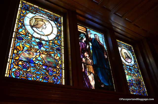 This Tiffany window, found on two floors is a 15 foot tall window divided between two floors