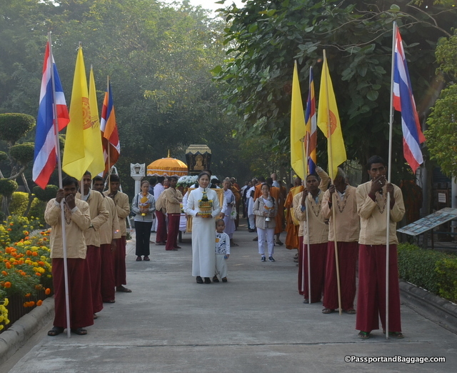 The parade began on the grounds of the Thai temple