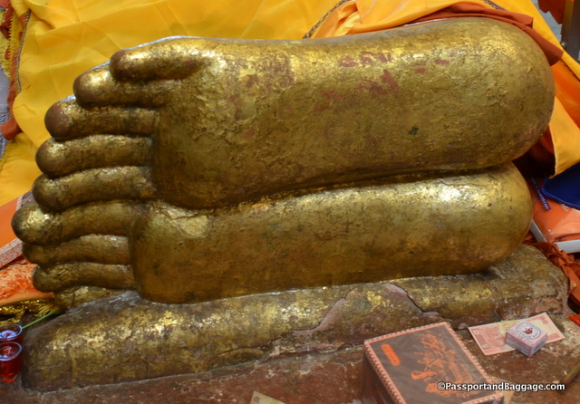 The feet of Buddha. If you look closely you will see the Dharma wheel on the soles of his feet