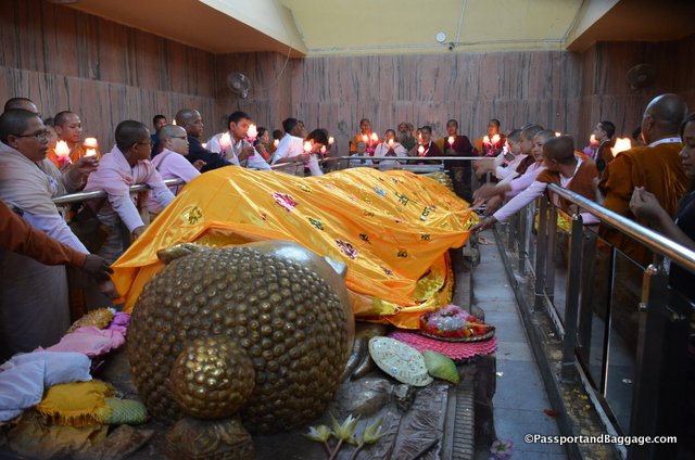 On the second day the nun's laid a robe on Buddha during the candlelight ceremony