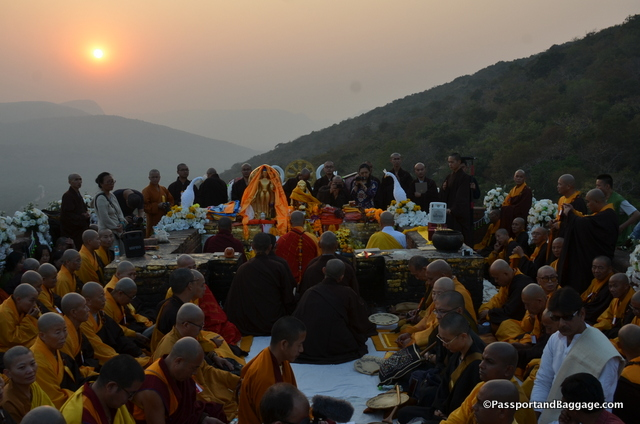 The sun setting on the chanting program
