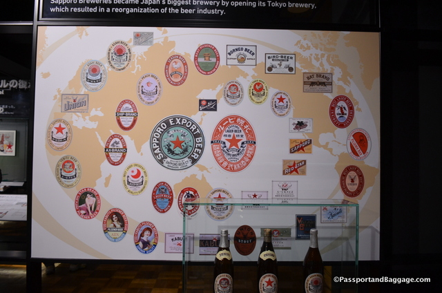 Labels of Sapporo Beer through the ages