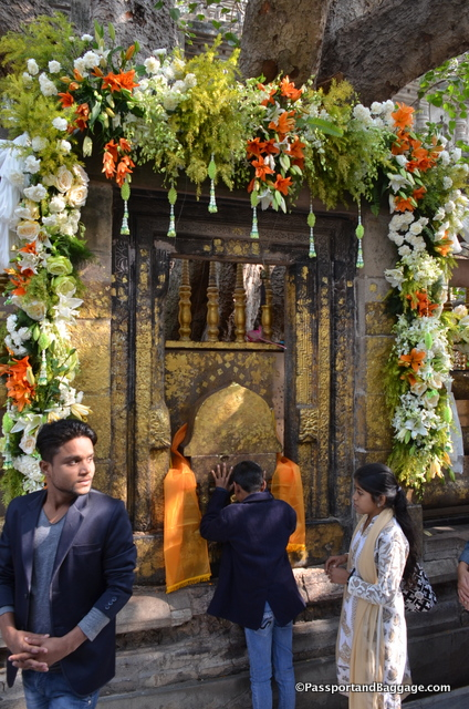 Buddha found enlightenment under the bodhi tree of Bodhgaya. This is the area directly under the tree where people pay homage to Buddha