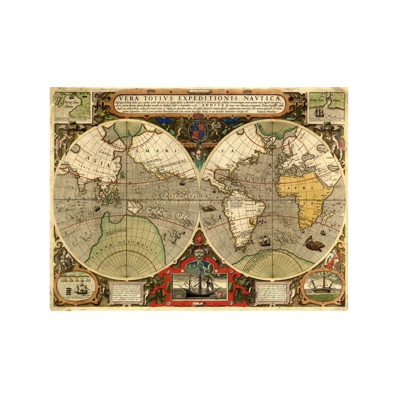 Quadro Mappa Emisfero Mondo 1595 Cartina Geografica Stampa su Mdf