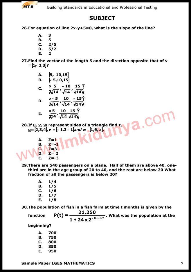 NTS Sample Past Papers Teaching Staff Educators LGES Mathematics Subject - sample staff paper