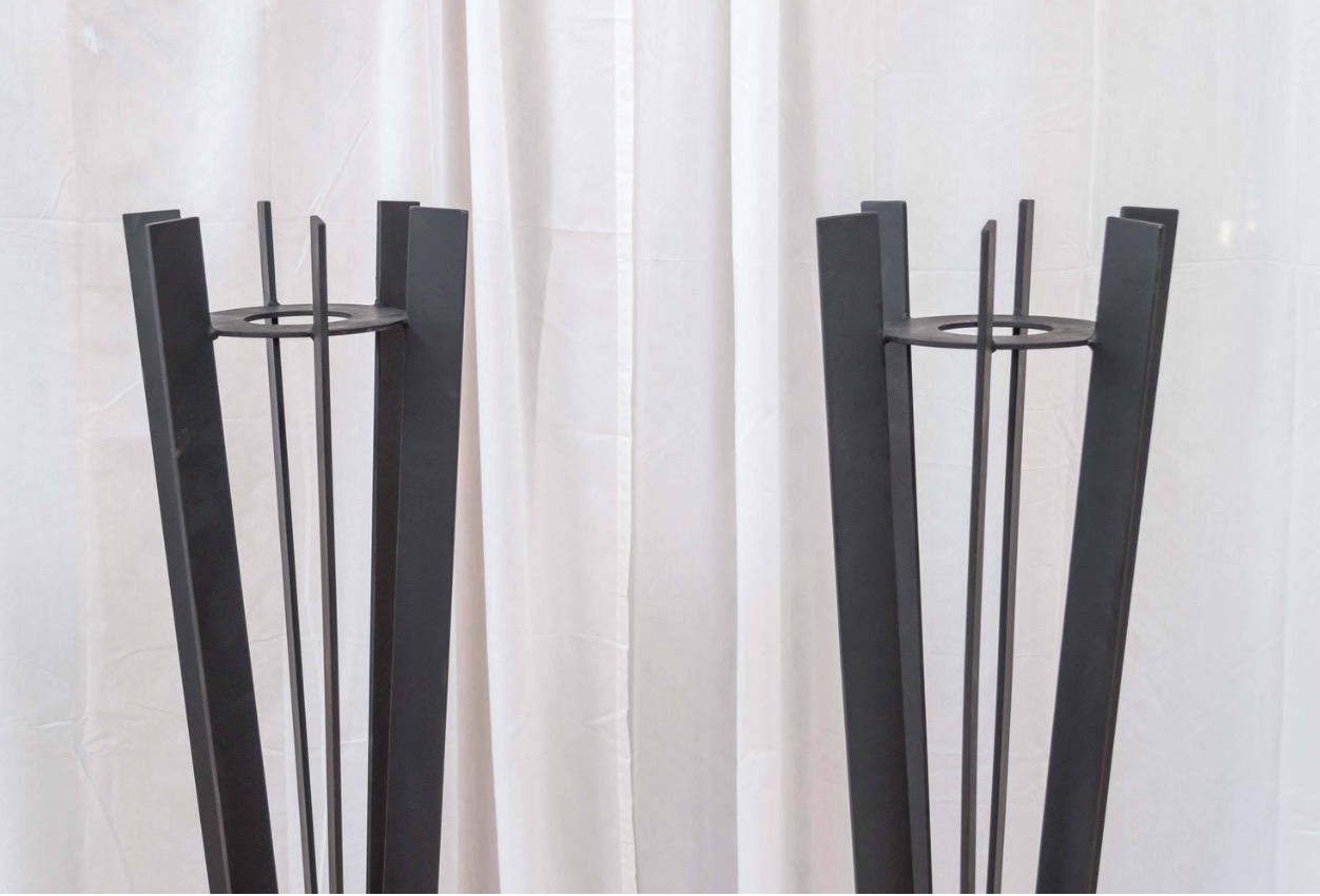 Tall Wrought Iron Plant Stands Pair Of Sculptural And Tall Wrought Iron Plant Stands