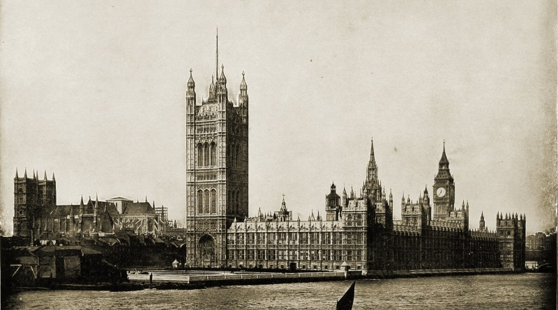 Houses of Parliament London England about 1892