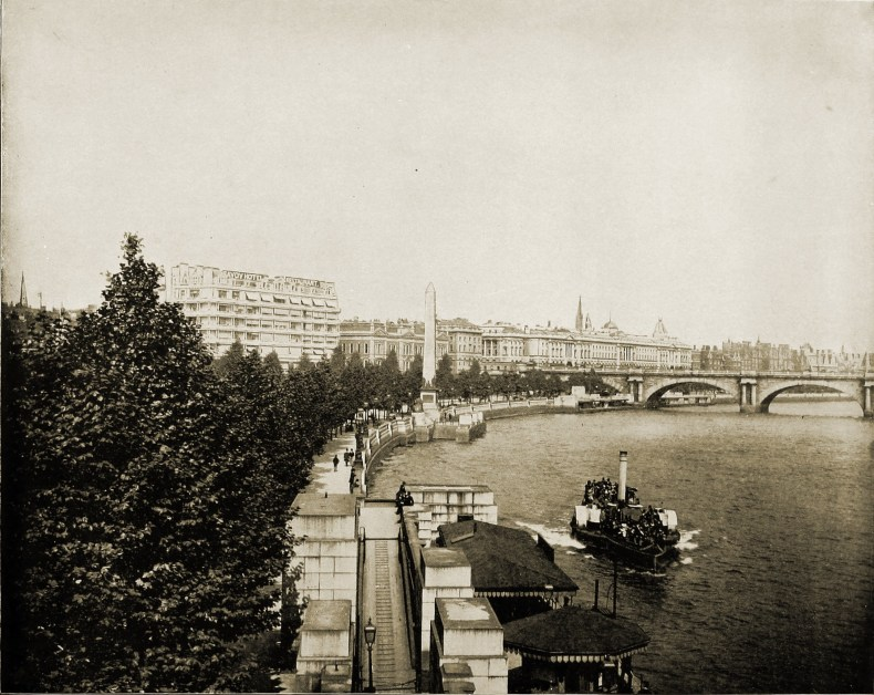 Thames and Obelisk London England about 1892