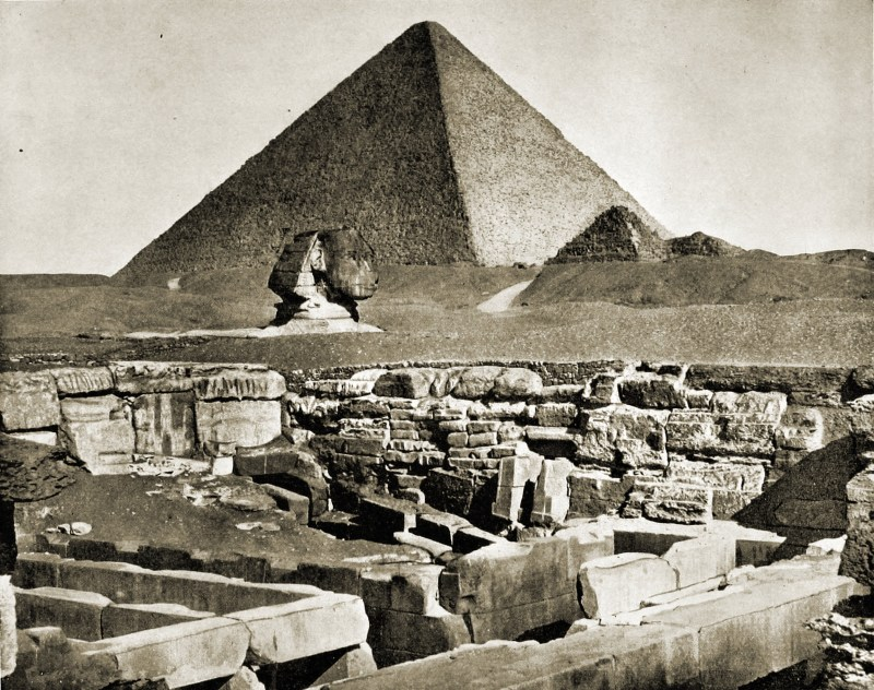Great Pyramid of Giza and Sphinx Egypt about 1892