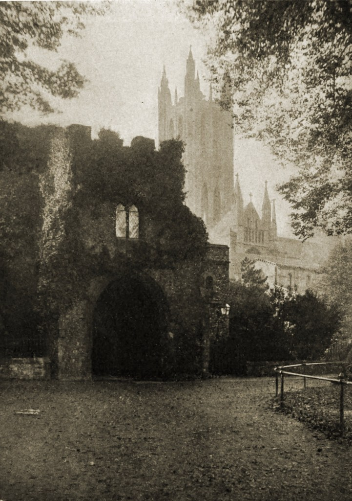 Canterbury: Bell Harry Tower and Gateway from Prior's Green by Catharine Weed Ward about 1908