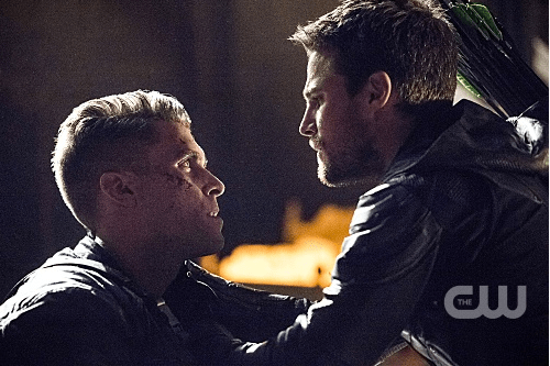Pictured (L-R): Josh Segarra as Adrian Chase and Stephen Amell as Oliver Queen/The Green Arrow -- Photo: Dean Buscher /The CW -- © 2017 The CW Network, LLC. All Rights Reserved.