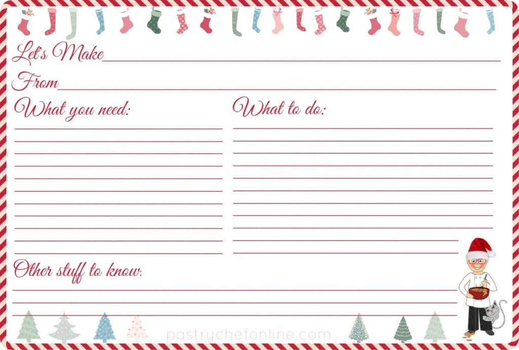 Free Printable Recipe Cards for Christmas Pastry Chef Online