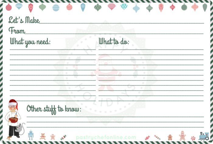 Free Printable Christmas Recipe Cards from PCO! - recipe card